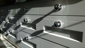 close up of drawers with chrome handles