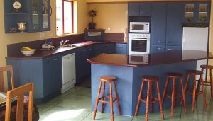 kitchen painted in dark blue