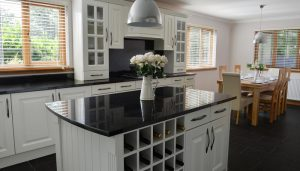 wine rack and gratite kitchen tops